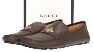 Gucci Leather Drive With Bee Moccasin